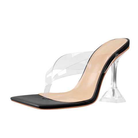Black Square Toe Transparent Tapered High Heel Thong Sandals