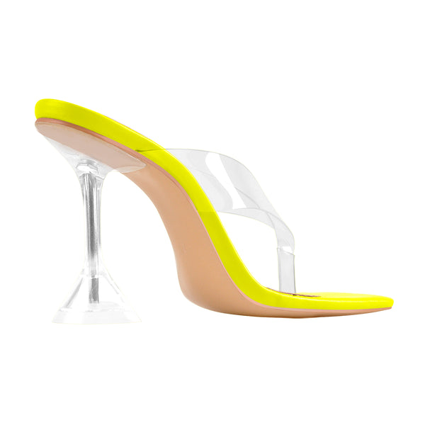 Yellow Green Square Toe Transparent Tapered High Heel Thong Sandals