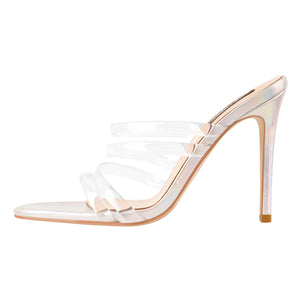 Colorful High Heel Clear Band Stiletto Sandals