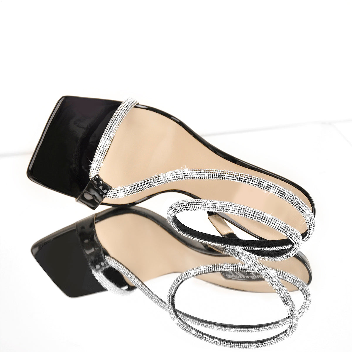 Black Patent Leather Square Toe Ankle Strap Open Toe High Heels Sandals