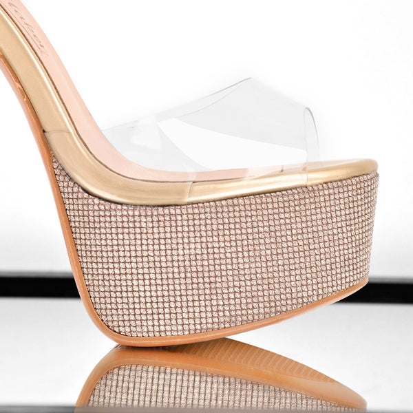 Clear PVC Ankle Strap Buckle Stiletto High Heel Sandals