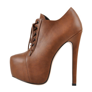 Brown Leather Platform Zipper Stiletto Ankle Boots