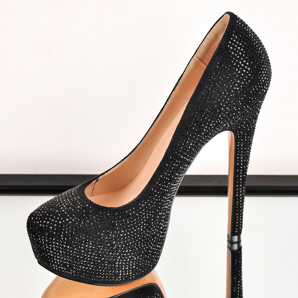 Black Platform Glitter Round Toe Stilettos Pumps