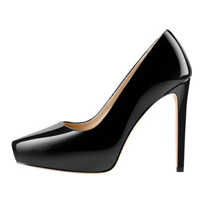 Black Patent Leather Pointed Toe Platform Stiletto High Heels Pumps