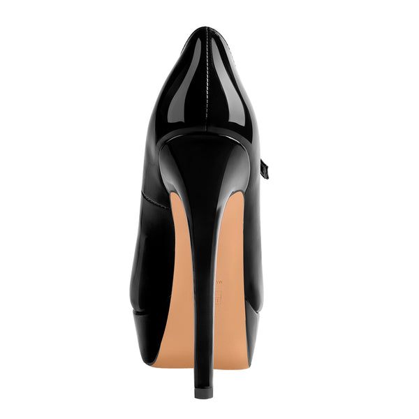 16cm Peep Toe Black High Heel Stiletto Pumps