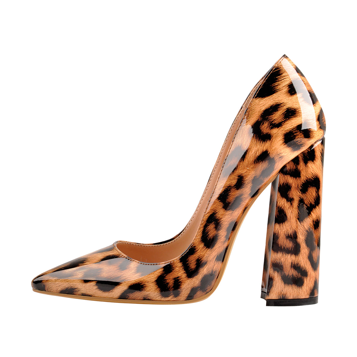 Leopard Pointed Toe Chunky Block Heel Pumps