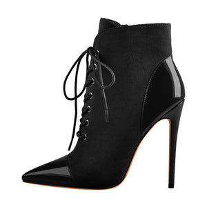 Pointed Toe Stiletto Heel Zipper Ankle Boots