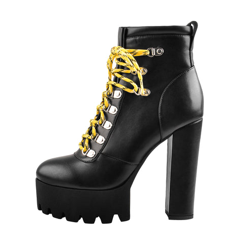 Lace Up Yellow Strappy Round Toe Platform Chunky Heels Ankle Boots