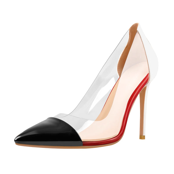 Black Pointed Toe Red White Stitching Transparent High Heels Pumps