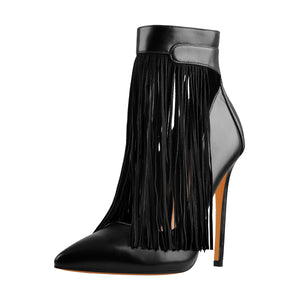 Fringe Pointed Toe Stiletto High Heels Ankle Pumps
