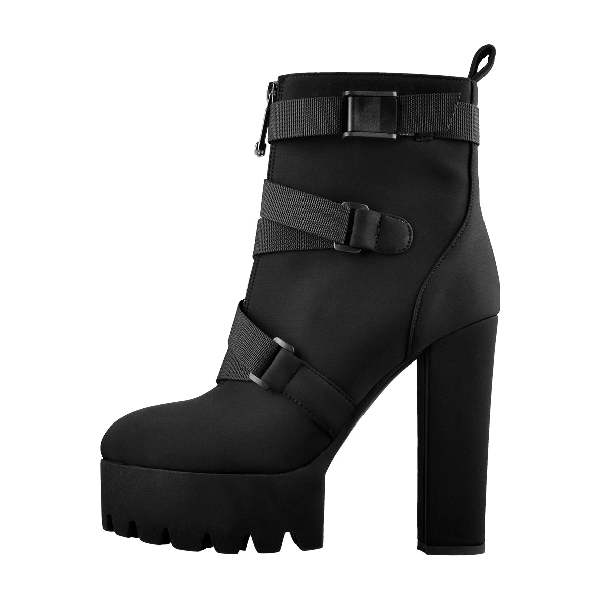 Platform Round Toe Zipper Strap Chunky High Heels Ankle Boots