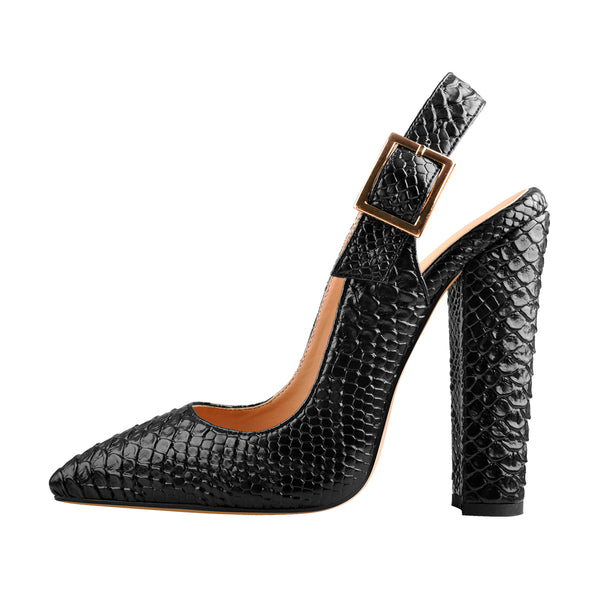 Slingback Pointed Toe Fish Scale Chunky Heel Pumps