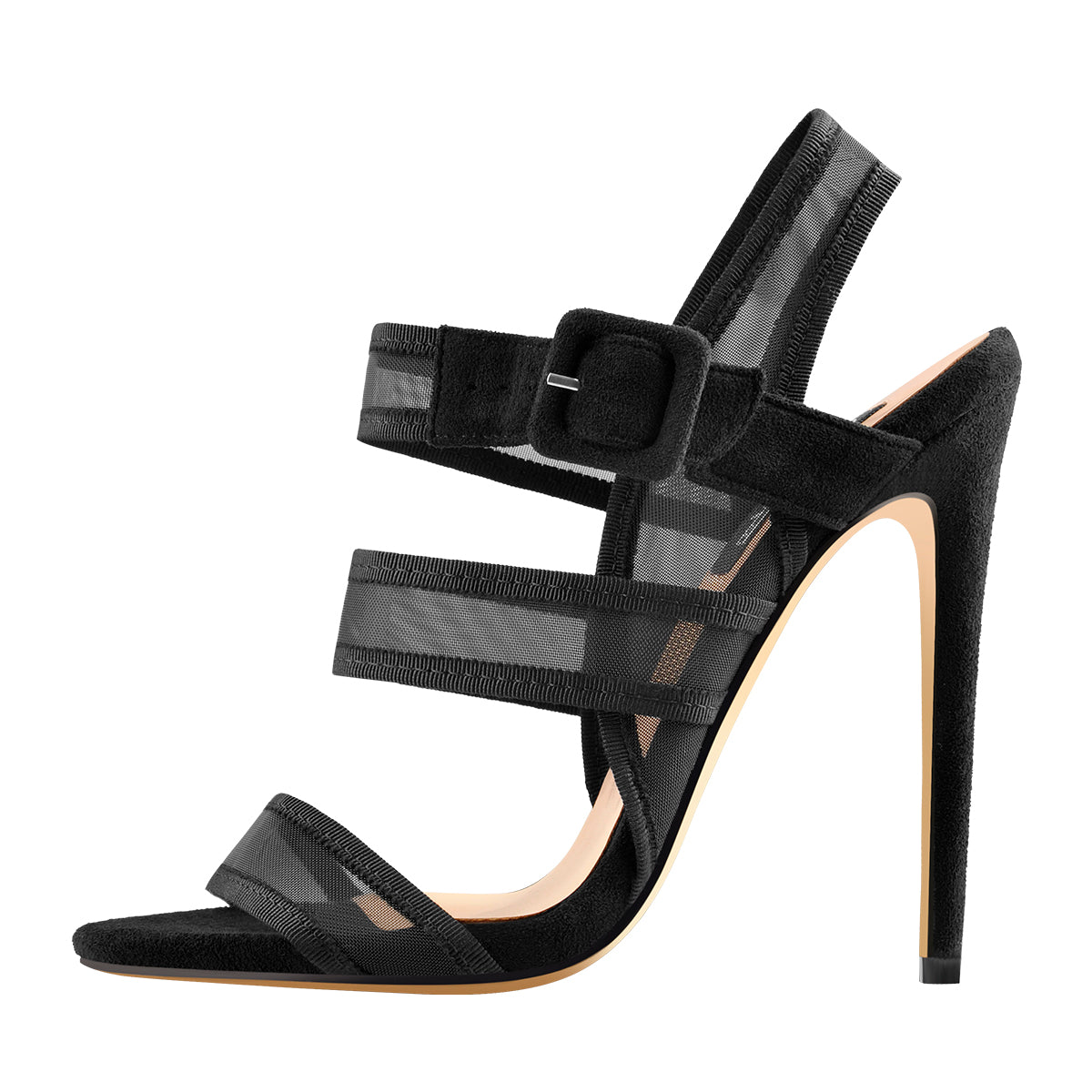 Black Mesh Straps Stiletto Heel Slingback Ankle Buckle Strap Sandals