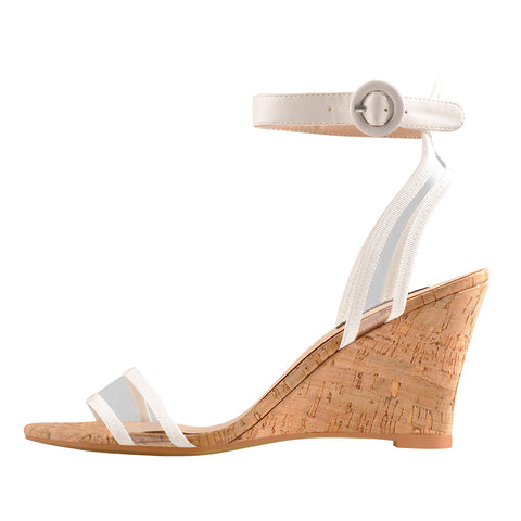 Low Mid Wedge Heel Slingback Transparent Ankle Strap Sandals