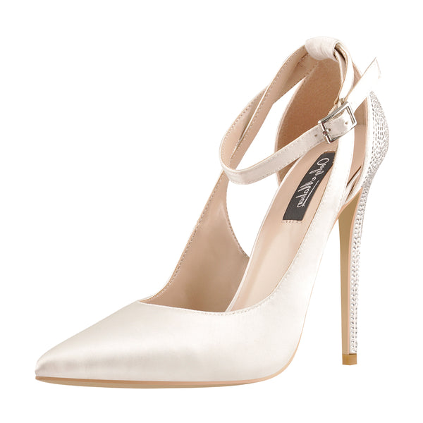 Pointed Toe White Satin Ankle Strap Rhinestone High Heels Pumps