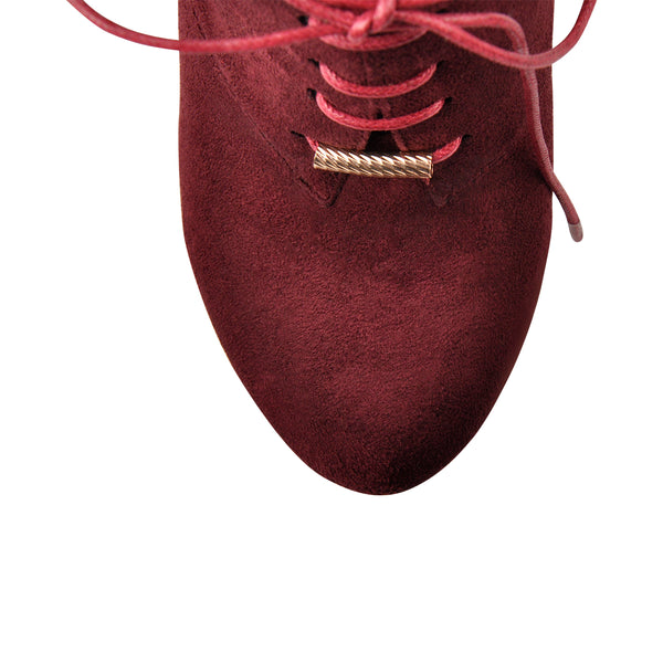 Burgundy Platform Lace Up Wedge Heels Round Toe Booties Faux Suede