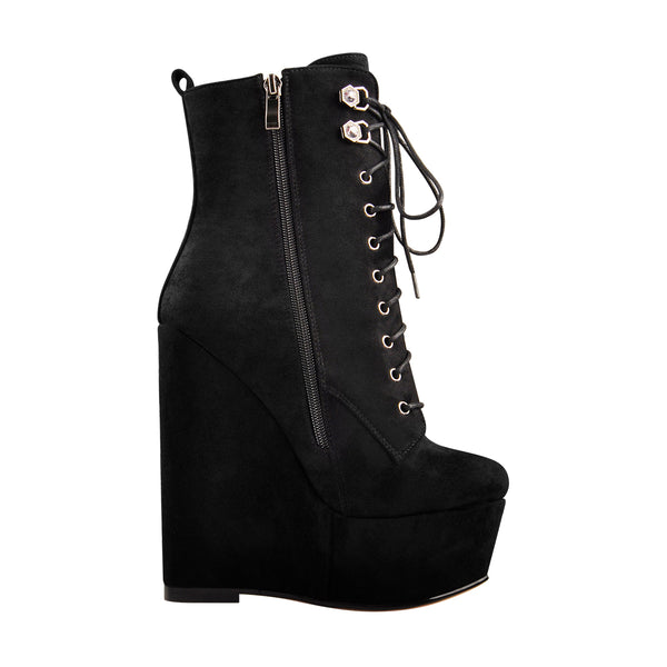Black Suede Lace Up Platform Wedges Ankle Boots