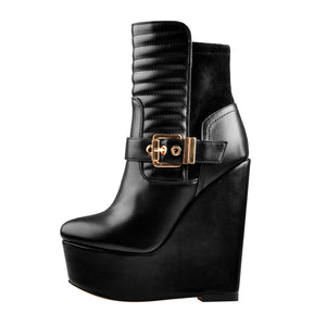 Platform Zipper Metal Buckle Strap Round Toe Wedge Heel Ankle Boots