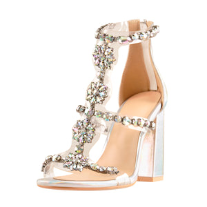Open Toe Gem Rhinestone Transparent Strip Cutout Silver Hologram Chunky Square Heel Sandals