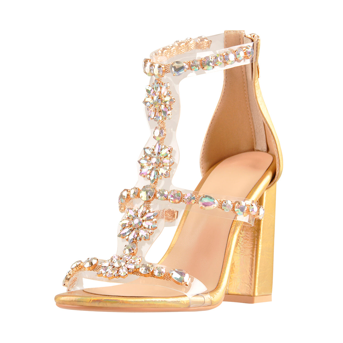 Open Toe Gem Rhinestone Transparent Strip Cutout Chunky Square Heel Sandals