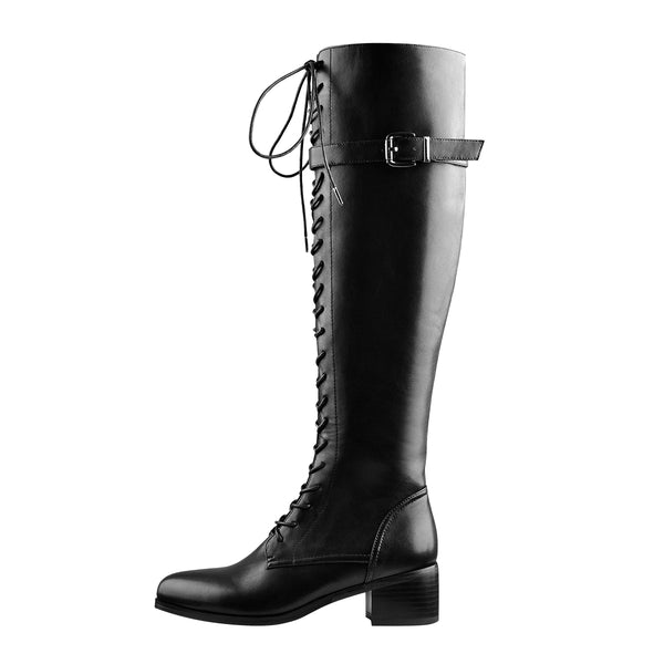 Round Toe Lace Up Sturdy Heel Side Zipper Knee High Boots