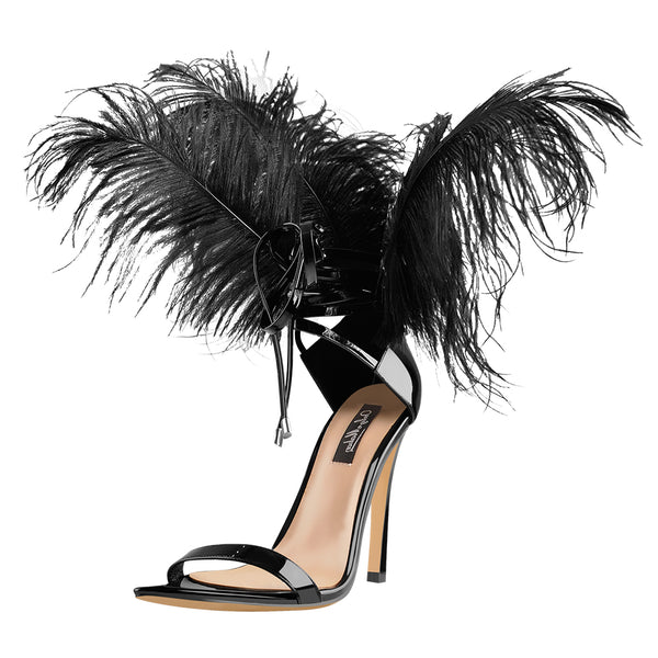 Open Toe Feather Back Lace Up Stiletto Heel Sandals