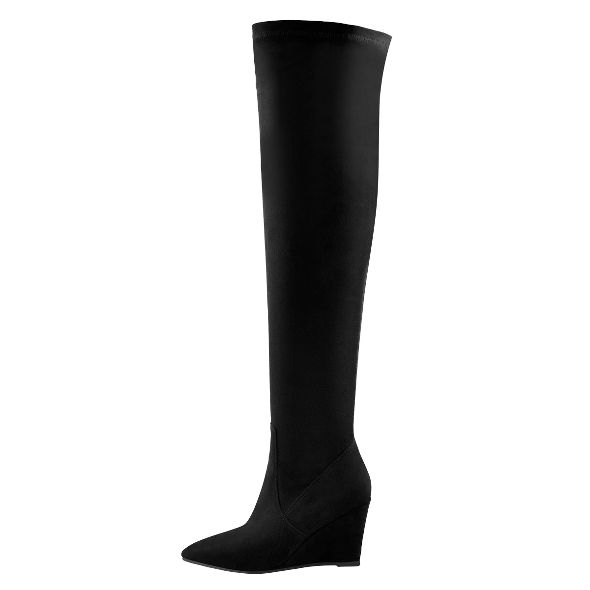 Black Suede Pointy Toe Wedge Heel Knee High Boots