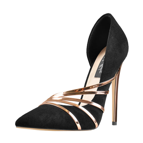 Pointed Toe Black Suede High Heel Gold Stiletto Pumps
