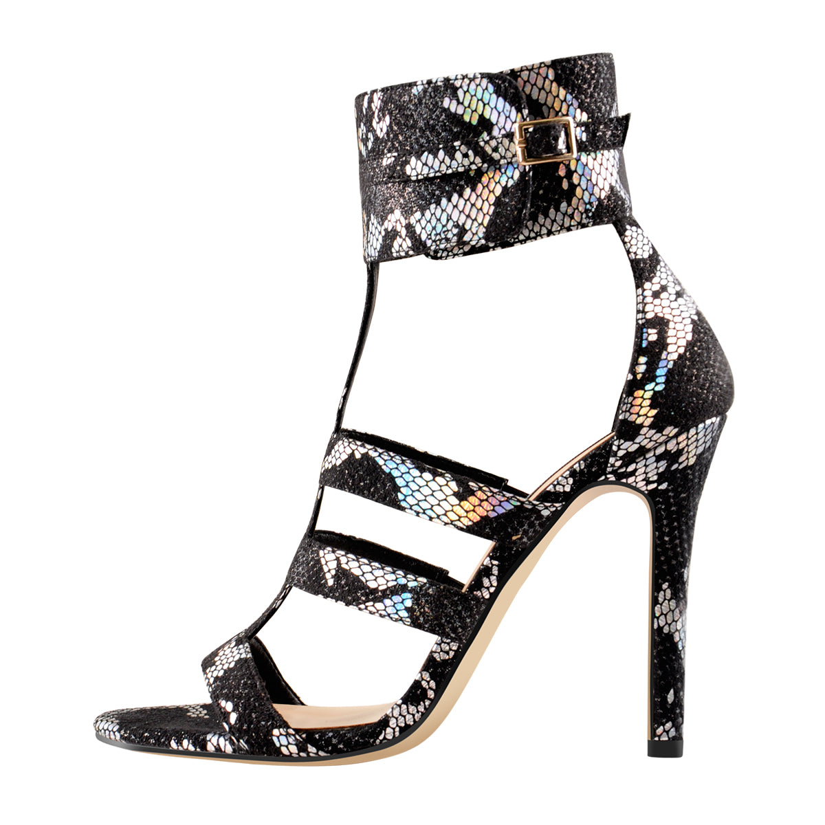 Open Toe Gladiator Cutout Colorful Snake High Heels Ankle Booties Sandals