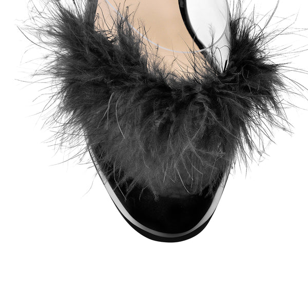 Fluffy Feather Clear Chunky Perspex Mules Transparent High Heels Sandals