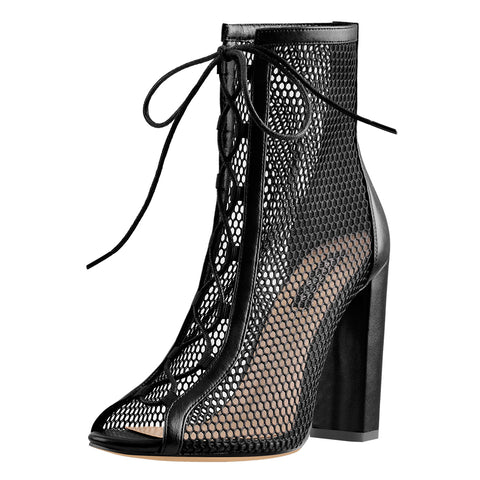 Chunky Heel Peep Toe Lace Up Mesh Ankle Booties Sandals