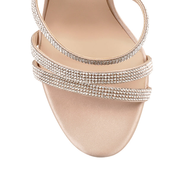 Rhinestones Ankle Strap Buckle Block Transparent Clear Chunky Slingback High Heel Sandals