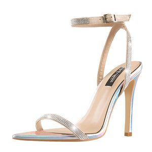 Pointed Open Toe Rhinestone Strap Slingback Stiletto Heels Holographic Sandals