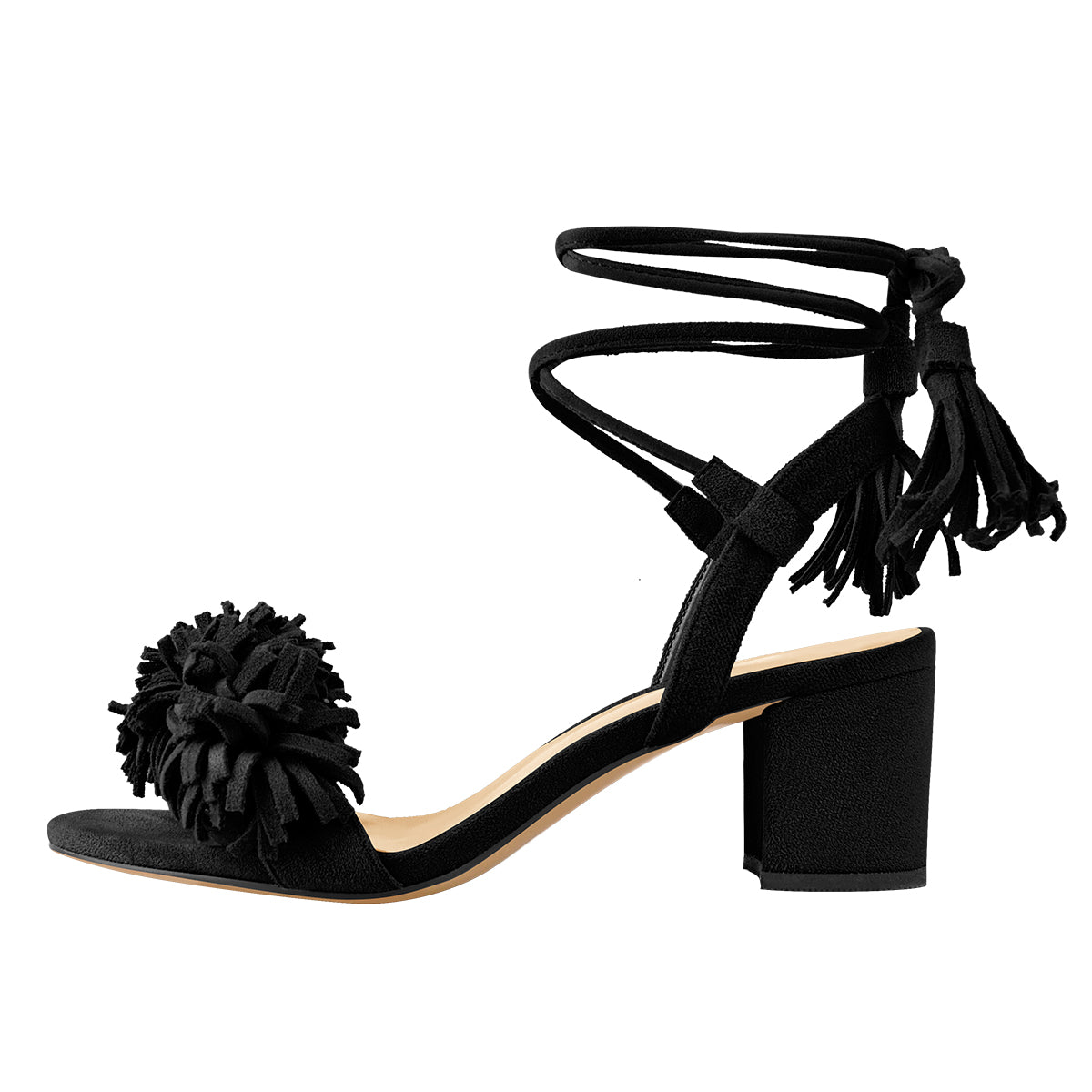 Open Toe Black Strap Chunky Heel Sandals