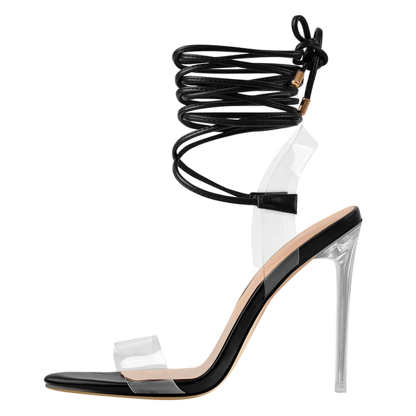 Clear Lace Up Ankle Strap Stiletto High Heel Sandals