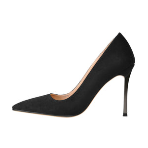 10cm Black Suede Metal Heels Pumps