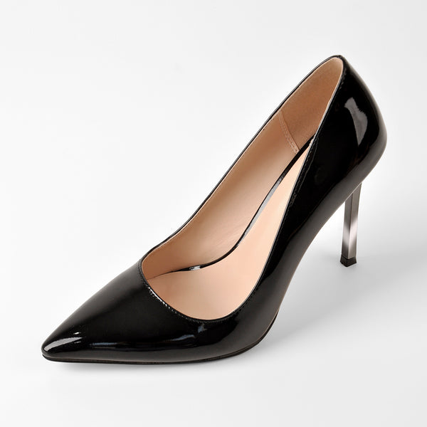 10cm Black Patent Leather Metal Heels Pumps