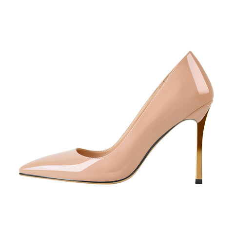 10cm Baby Pink Patent Leather Metal Heels Pumps