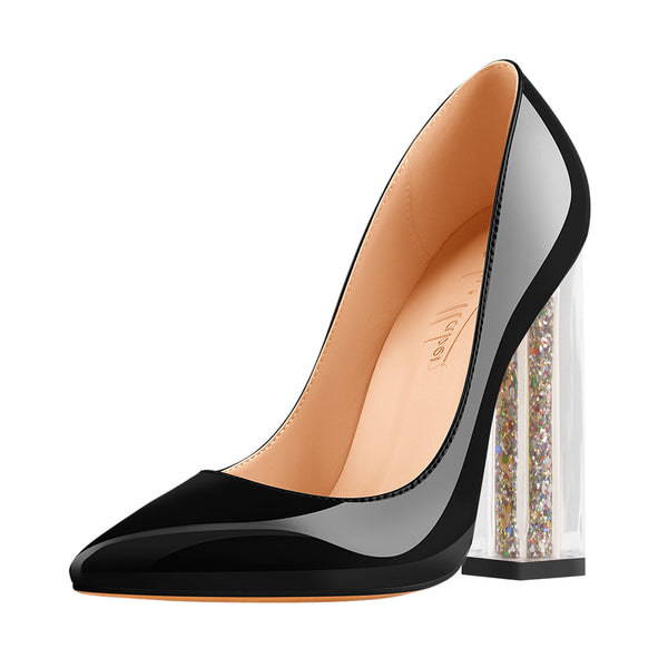 Lucite Clear Perspex Glitter Block Black Pointed Toe High Heels Pumps