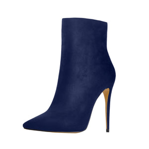 Sapphire Blue Suede Pointy Toe Stiletto High Heel Ankle Boots