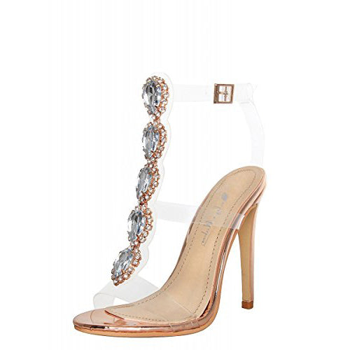 Transparent Strip Cutout Gem Clear Stiletto Sandals