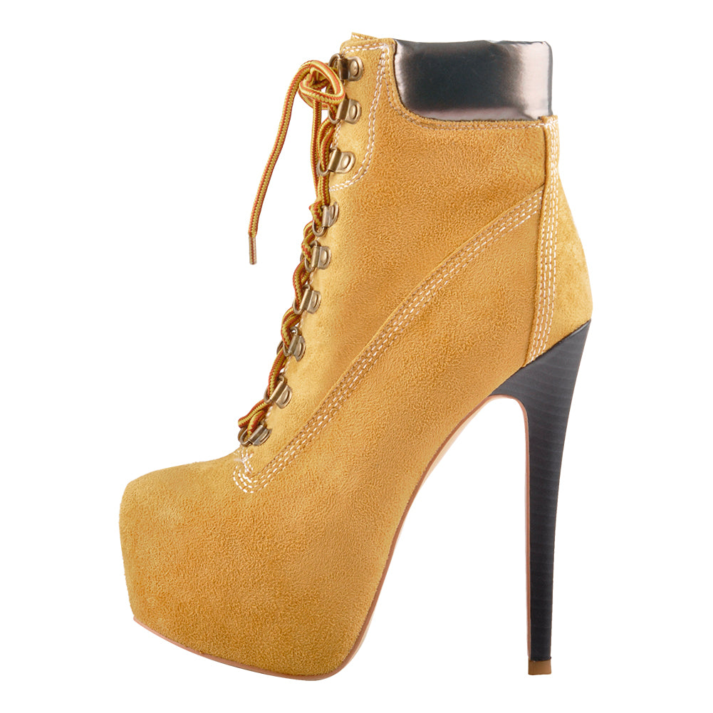Yellow Platform Round Toe Lace-up Suede Ankle Boots