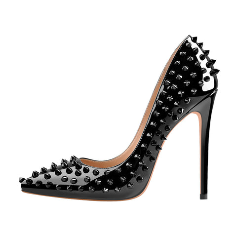 Pointed Toe Rivets Pumps Black Patent Leather Studded High Heels Pumps