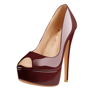 Peep Toe Platform Burgundy Stiletto High Heel Pumps