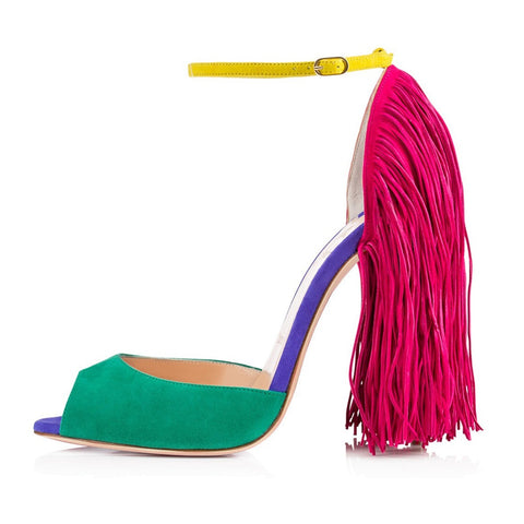 Fringe Decoration Peep Toe High Heel Sandals