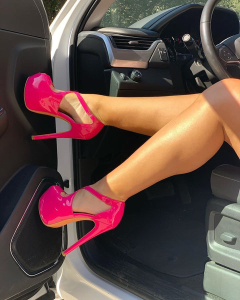 Criss Cross Peep Toe Platform Pink High Heels Sandals