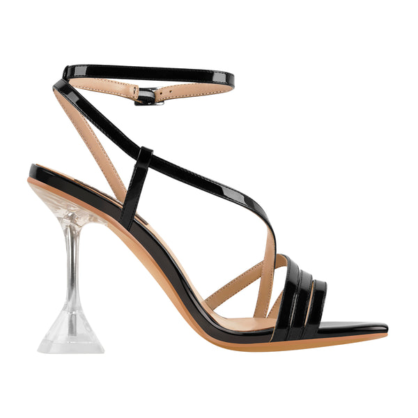 Open Toe Clip-On Cross Strap Ankle Buckle Strap Transparent Tapered Heel Sandals