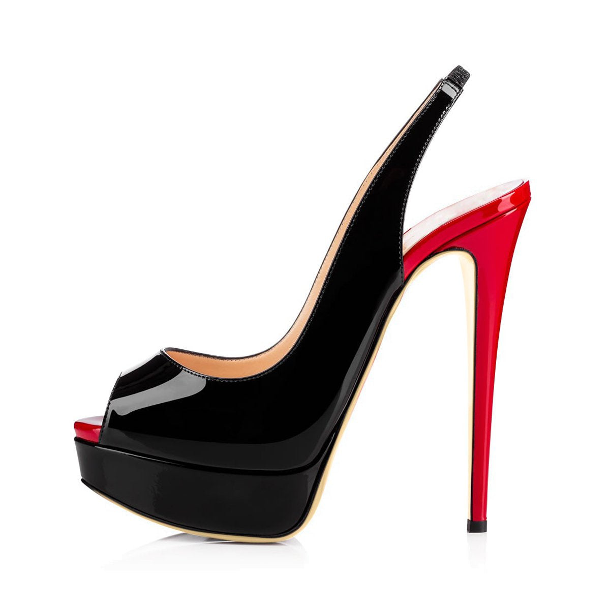 Platform High Heel Peep Toe Black-Red Slingback Sandals