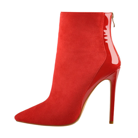 Red Suede Patent Leather Stitching Pointed Toe Ankle boots
