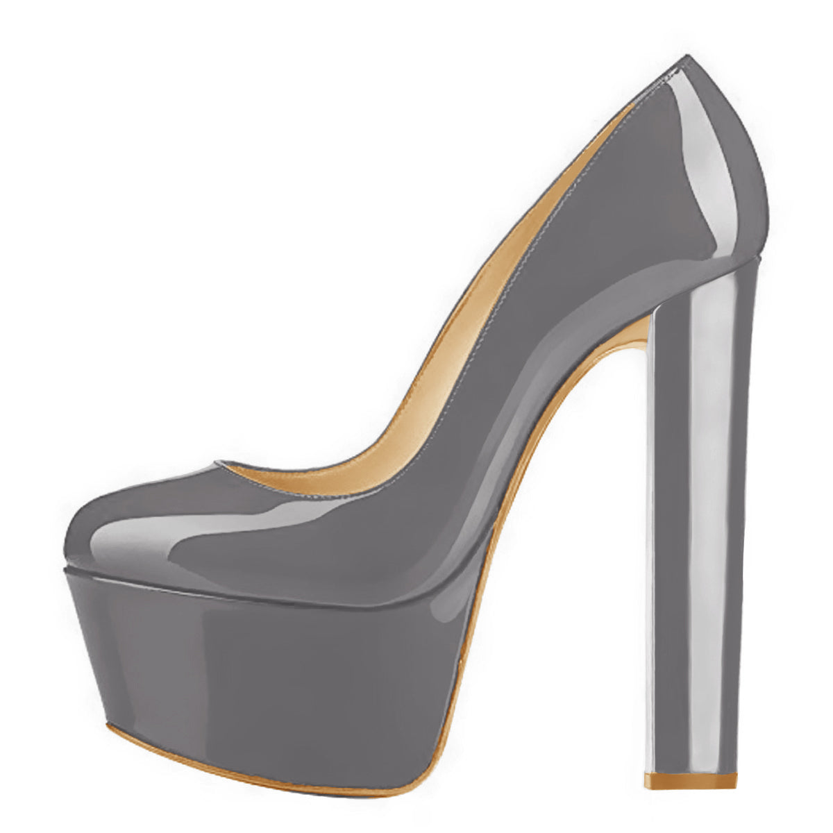 Gray Round Toe Pumps Classic Platform Chunky Heel Pumps